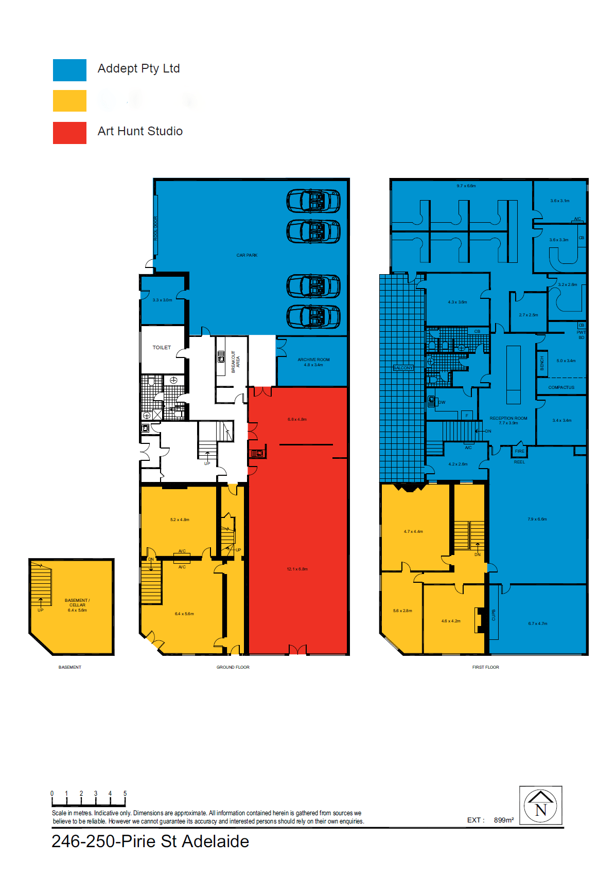 The amber coloured section is the available tenancy